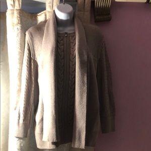 St. John tan woolCashmere cardigan. NWOT